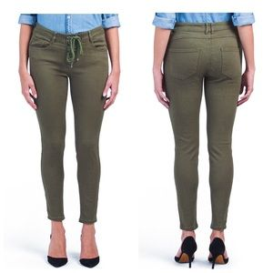 MAX STUDIO   sexy olive lace-up jeans